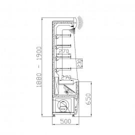 Hűtött faliregál - 68 cm széles